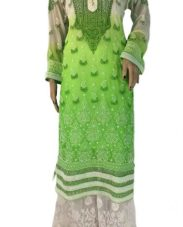 Cream and Green Long Lucknowi Kurti