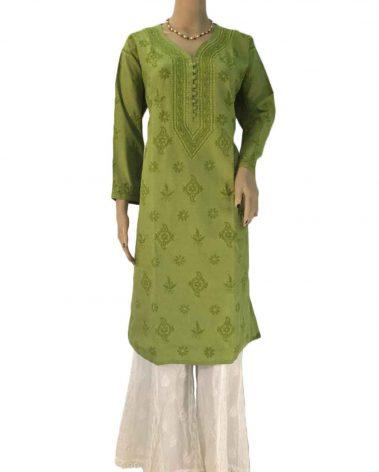 Green Lucknowi Chikankari Kurta