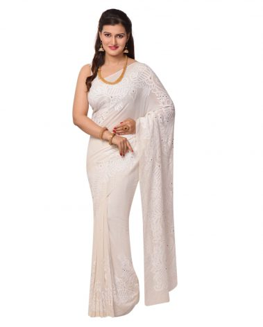 Pure Georgette Chikankari Saree in Ivory Border and Pallu with Mukaish