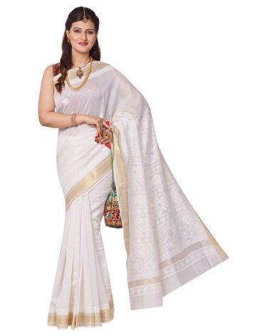 Chikankari Saree in Ivory Chanderi Kerala style